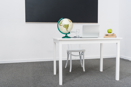 blackboard, desk, apple, laptop and globe